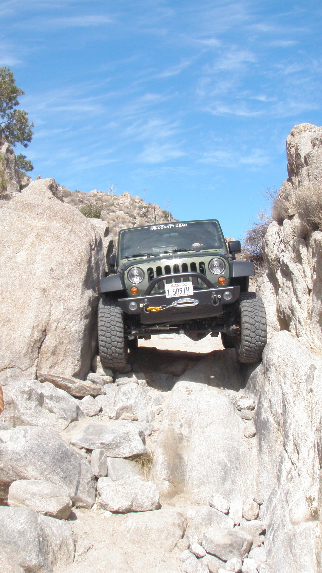 The pinion mountain trail is in good shape and all five jeeps slid through the squeeze with no problems well chris did get some scrapes on his driver s